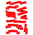 set of red ribbons and banners for web design vector image