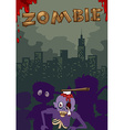 Zombie with axe on head vector image