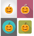 pumpkins for halloween flat icons 01 vector image