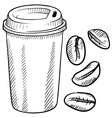doodle coffee cup portable disposable togo beans vector image