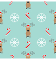 Christmas snowflake candy cane deer wearing red vector image