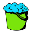 bucket with foamy water icon icon cartoon vector image