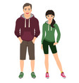 fashion couple in fitness outfit vector image