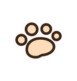 flat color dog paws icon vector image vector image