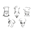 Sketches of chefs heads vector image vector image