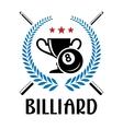Billiard emblem with laurel wreath vector image