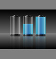 blue battery on gradient grey background vector image