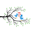 Kissing Birds in love at branch vector image