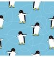 Penguins on Ice-skates Seamless Pattern vector image