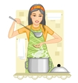 Young woman tests food in the kitchen vector image