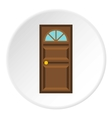 Wooden entrance door icon flat style vector image