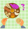 grapes honey cheese and wine vector image