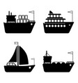 Ships boats cargo logistics transportation and vector image