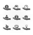 hand icons saving concept design vector image vector image