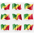 Set of Congo Republic flags in the air vector image