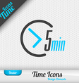 Time Icon 5 Minutes Symbol Design Elements vector image