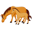 Cartoon happy brown horse with a foal vector image vector image