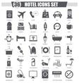 Hotel black icon set Dark grey classic vector image