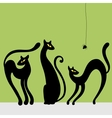Set of black cat silhouettes vector image