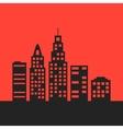 black city landscape on red background vector image