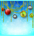 blue background with snowflakes and christmas tree vector image