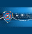 data protection shield with chain vector image