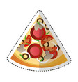 delicious pizza portion icon vector image