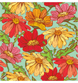 Floral Seamless Pattern with hand drawn flowers - vector image