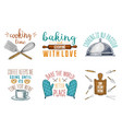 rolling pin wooden board whisk and mittens for vector image