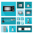 set of interior kitchen with kitchen shelves and vector image