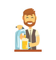 smiling bearded bartender man character standing vector image