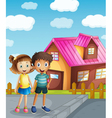 a kids and a house vector image vector image