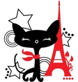Cat silhouette in France vector image vector image