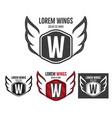 modern wings shield template logo design vector image