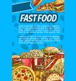 fast food poster for restaurant menu design vector image vector image