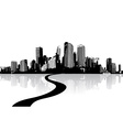 Black and white cityscape with water reflection vector image vector image