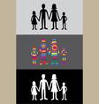Family rainbow silhouette vector image