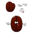 Cartoon brown coffee bean charcater vector image
