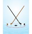 Ice Hockey Sticks Puck on Ice Rink vector image