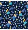 Mermaids and fish pattern vector image