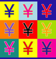yen sign pop-art style colorful icons set vector image