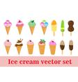 Ice-cream set ice cream cone in a cup on a stick vector image