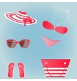 set of flat beach accessories red and white vector image