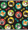 cats and fishbone pattern vector image