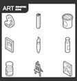 art outline isometric icons set vector image