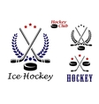 Ice hockey emblems and icons vector image