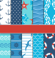 Set of 10 seamless sea patterns vector image