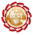 Gold best offer badge with red ribbon vector image