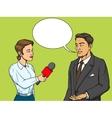 Woman reporter interviewing man comic book vector image