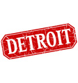 Detroit red square grunge retro style sign vector image
